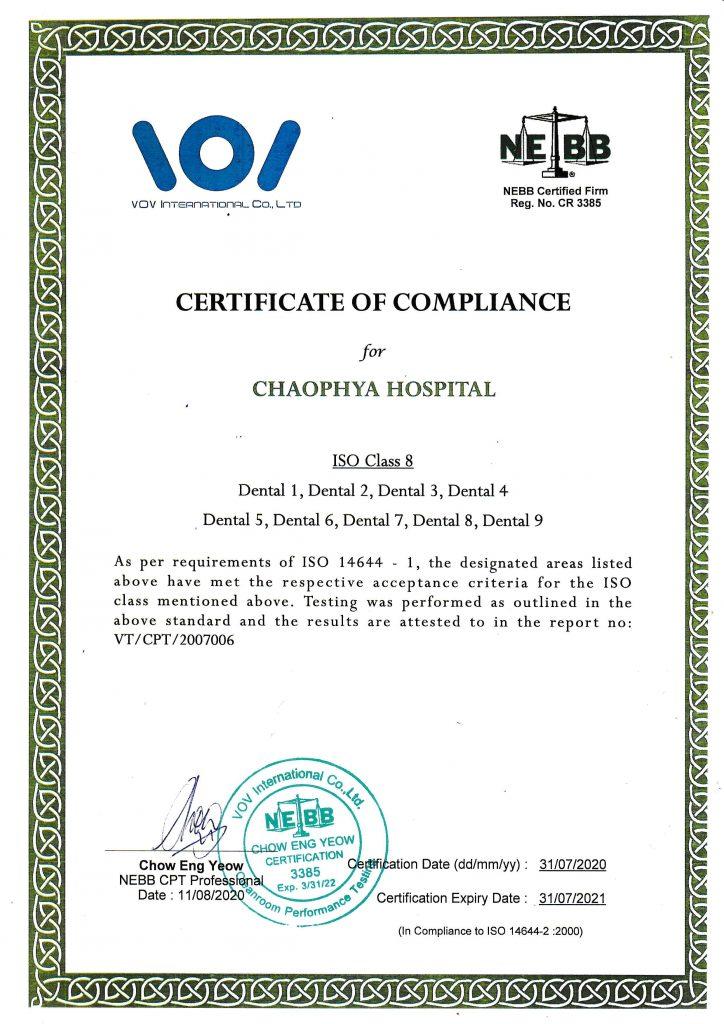 ใบรับรองการตรวจสอบประสิทธิภาพห้องสะอาดตามมาตรฐานของ NEBB ISO 14644-1 (ISO class8)